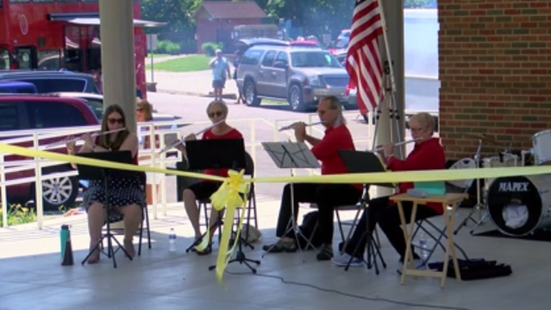 Many celebrated the ribbon cutting of the Allen Family Amphitheater in Newburgh with live music...