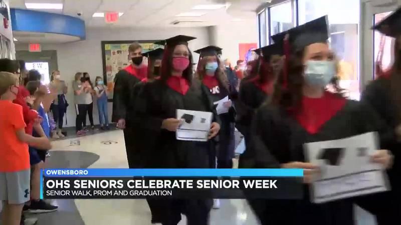 OHS seniors take part in 'senior walk' at former elementary schools