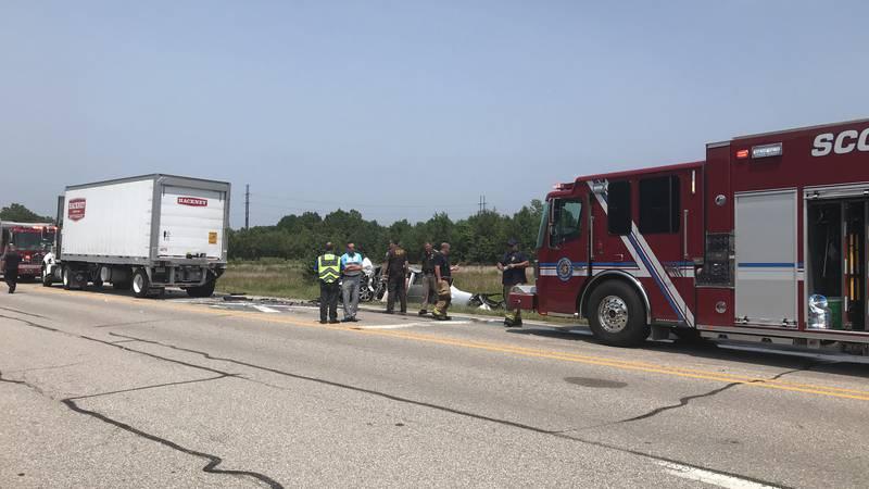 Crews on scene of crash at Highway 57 near Baseline