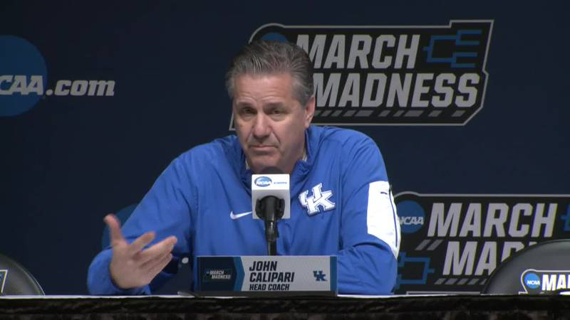 UK men's head basketball coach John Calipari answers a question from a reporter at the March...