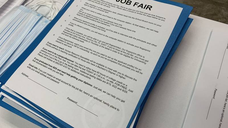 Job fair form listing items needed to move forward with application status.