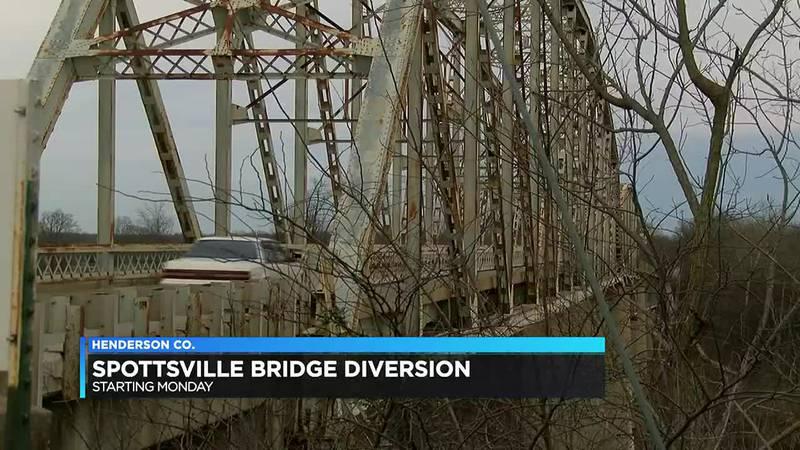 Temporary diversion slated on Spottsville Bridge beginning Monday