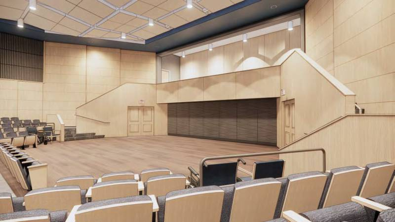 An artist's rendering of the renovations at Wheeler Concert Hall
