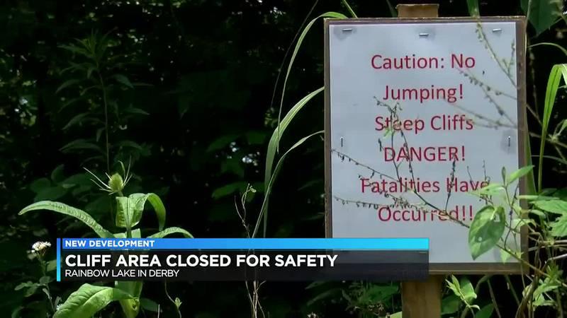 Cliff area closed at Rainbow Lake