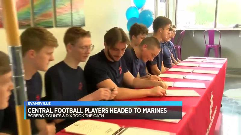 Central football players enlist in the Marine Corps.
