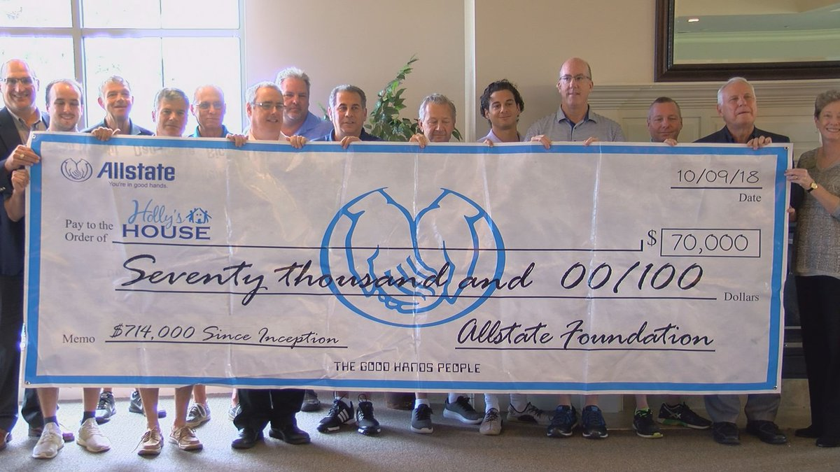 Allstate Foundation presents check for $70,000 to local non-profit Holly's House for domestic...