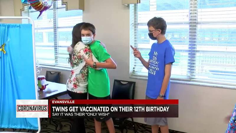 Evansville twins get COVID vaccine on 12th birthday