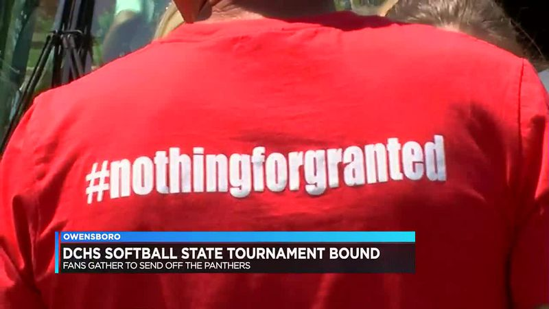 Fans gather to send off Daviess Co. softball team as group boards bus for KHSAA tournament