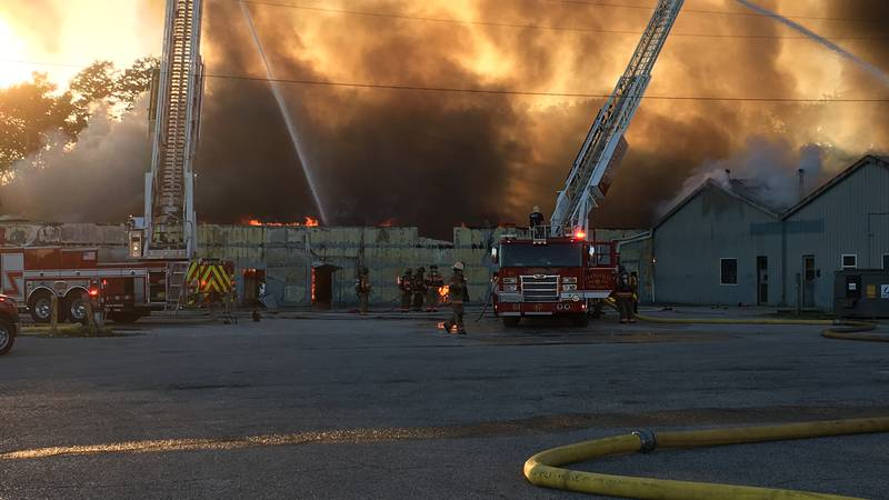 Authorities confirm a structure fire in progress along Diamond Avenue in Evansville on Friday...
