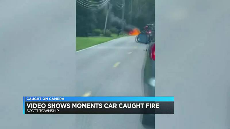 Caught on camera: Car ignites on fire in Scott Township