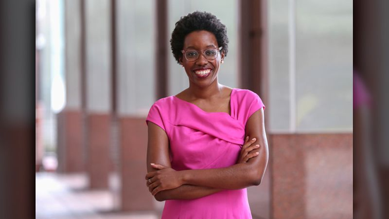 In this Aug. 25, 2018, photo, rookie Democratic candidate Lauren Underwood poses for a photo in...