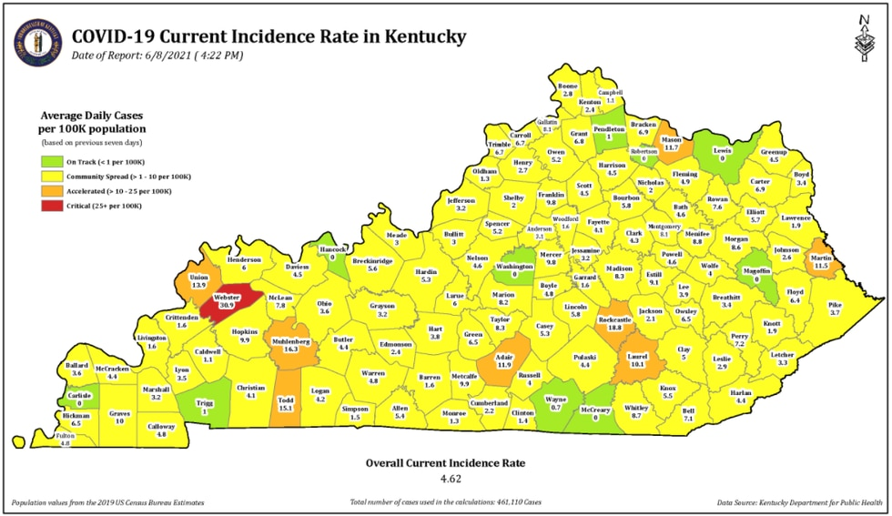 Webster Co. moves to 'red' on state's incident rate map