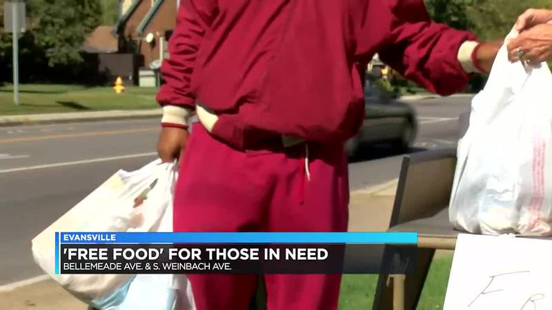 Friends offering 'free food' to people in need in Evansville