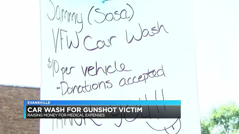 Family members of gunshot victim raise money for him with a car wash