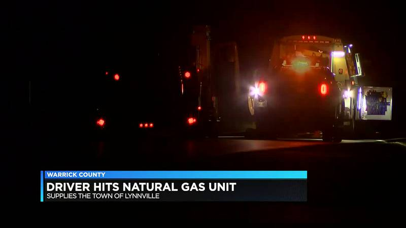 Driver hits natural gas unit in Lynnville.