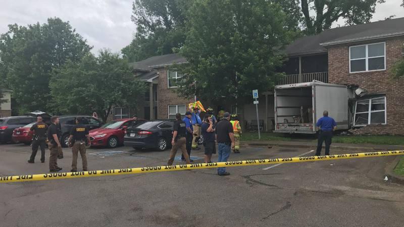 Truck hits apartment building in Newburgh