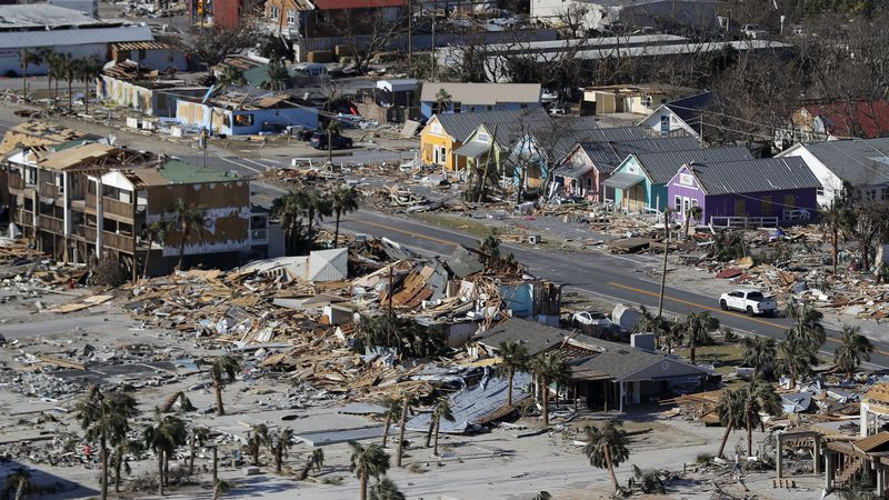 This Oct. 12 aerial file photo shows devastation from Hurricane Michael over Mexico Beach, Fla....