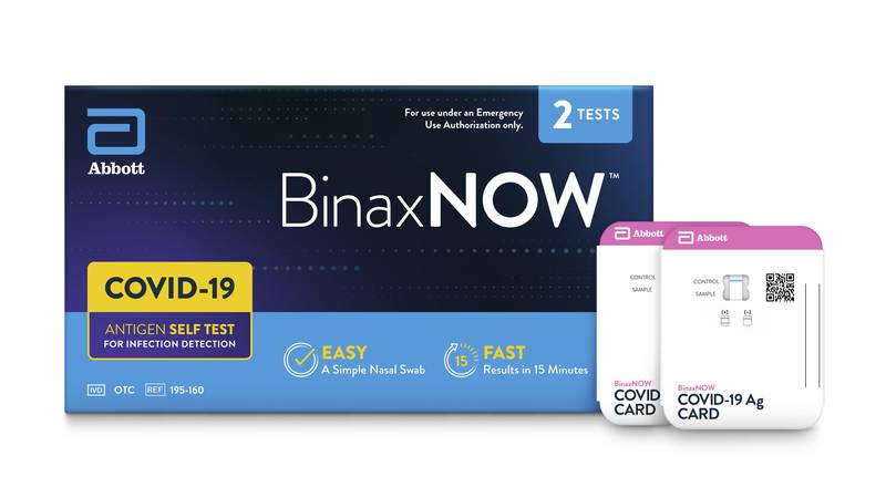 This image provided by Abbot in September 2021 shows packaging for their BinaxNOW self test for...