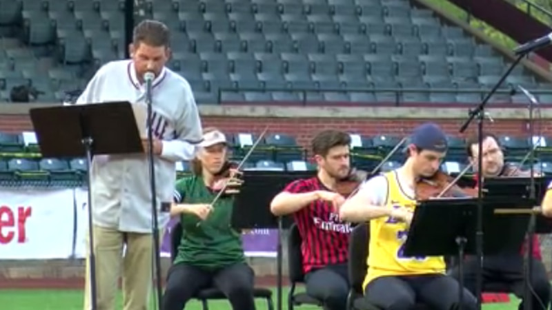 The Evansville Philharmonic Orchestra performed for the first time at Bosse Field on Saturday.