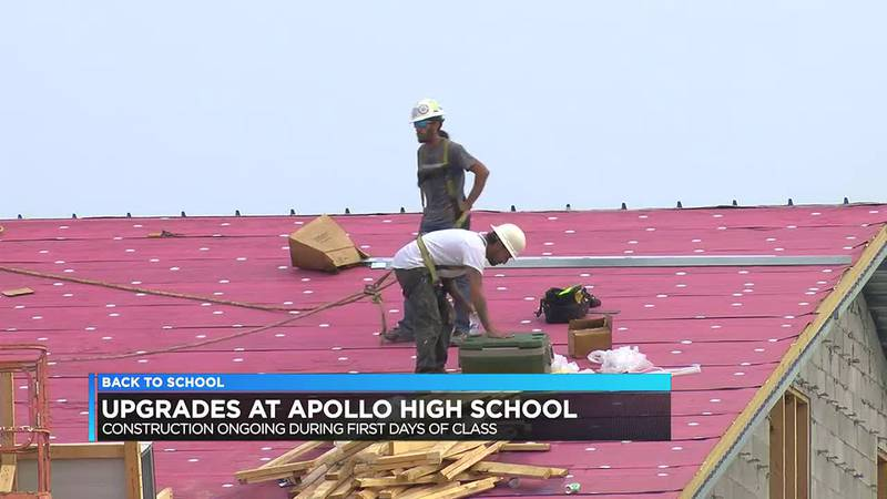 Construction ongoing during 1st days of class at Apollo High.