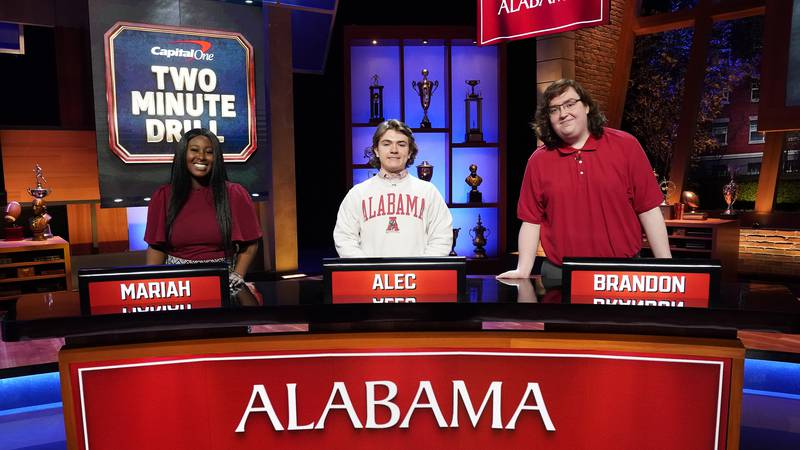 CAPITAL ONE COLLEGE BOWL -- Episode 101 -- Pictured: (l-r) Mariah, Alec, Brandon -- (Photo by:...