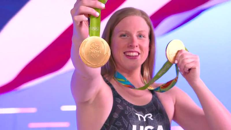 Evansville's Lilly King placed second in the Olympic 100-meter breaststroke semifinals in Tokyo...