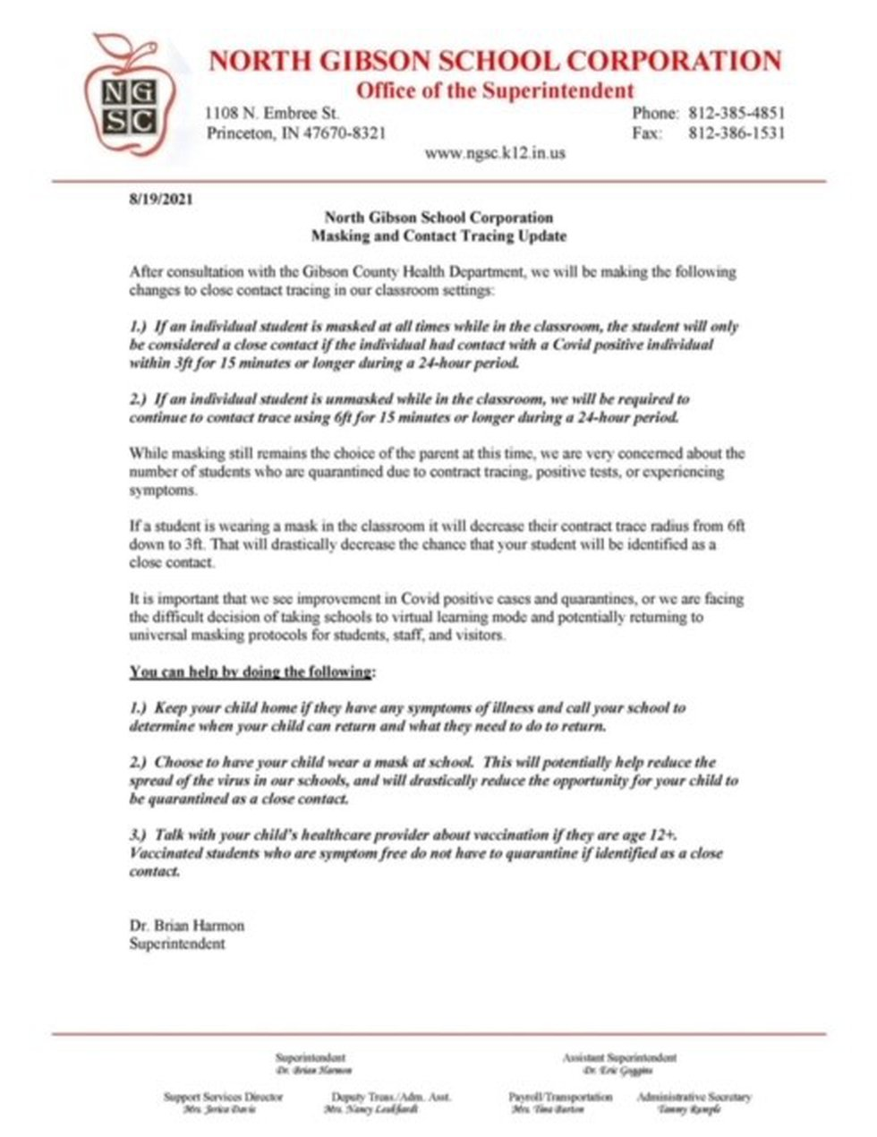 East and North Gibson Co. Schools updated mask policy