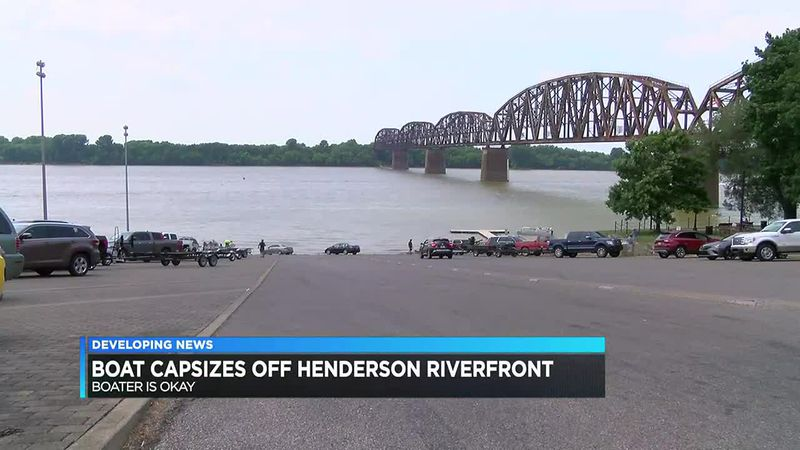 Boat capsizes off Henderson riverfront Saturday afternoon.