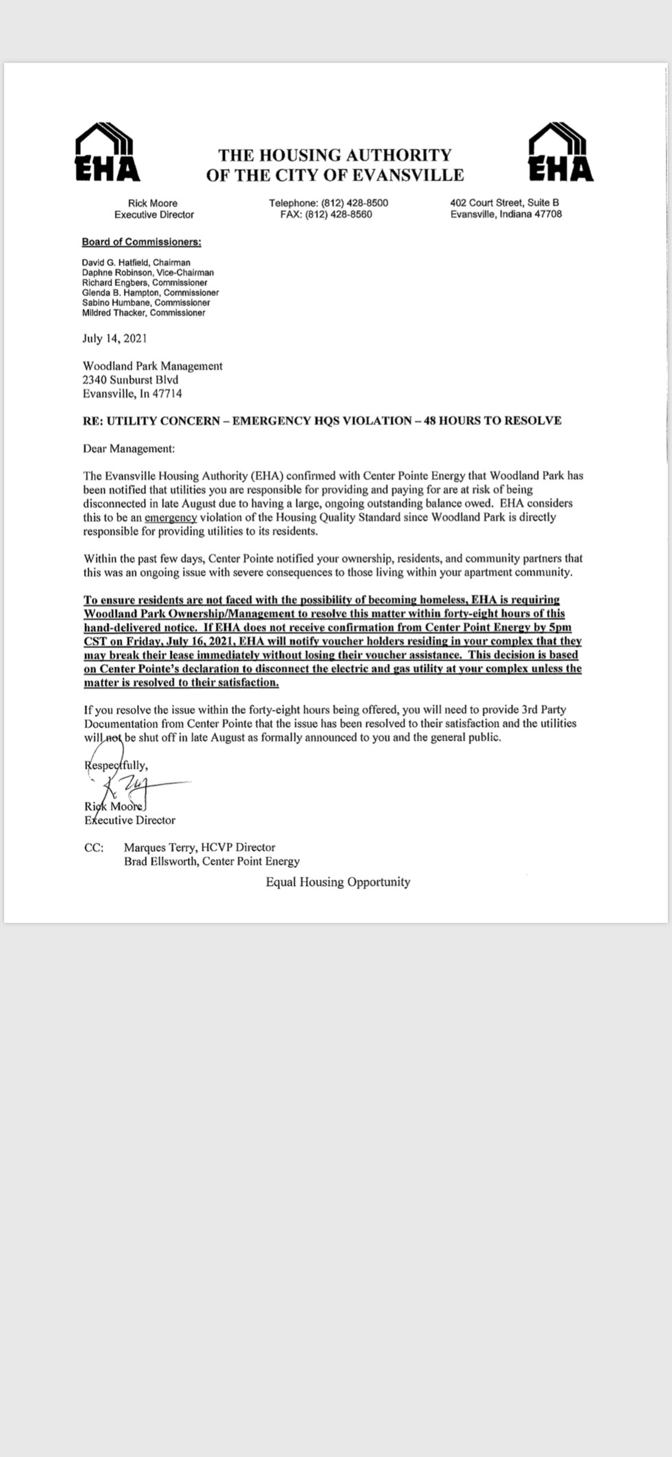 Letter to management/residents at Woodland Park Apartments.