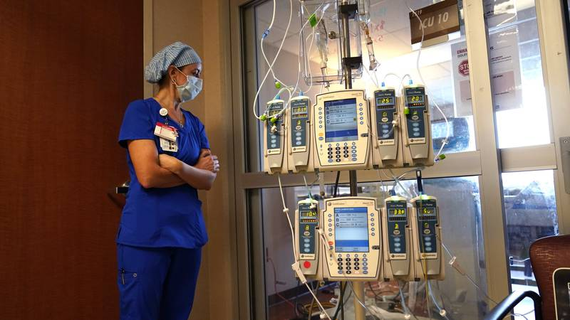 FILE - In this Aug. 17, 2021, file photo, nursing coordinator Beth Springer looks into a...