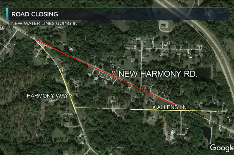 New Harmony Rd. to close for new water lines.