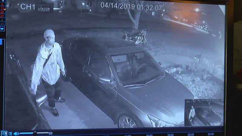 Security camera clearly captures suspect stealing from car parked in driveway.