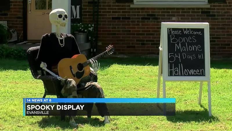 Evansville resident prepares new Halloween display