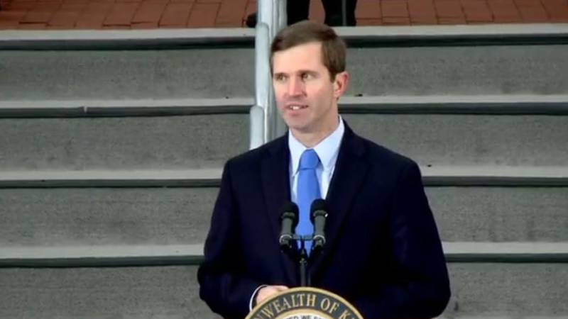 Kentucky Gov. Andy Beshear speaks at his inauguration ceremony Tuesday in Frankfort.