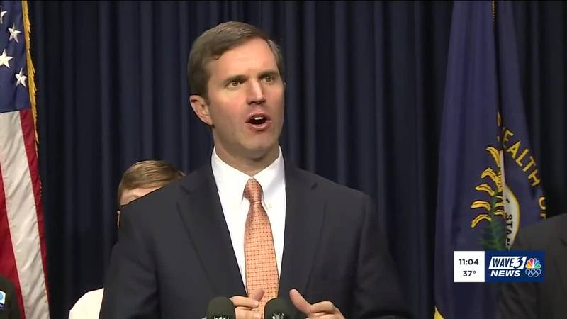 """""""There are finally dollars to start reinvesting in our families,"""" Beshear said during his..."""